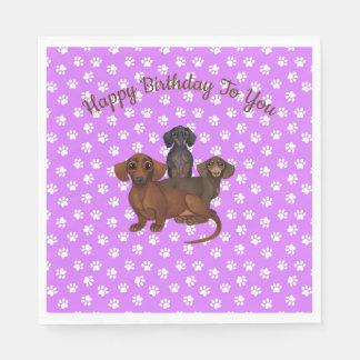 Purple Dachshund Paper Party Napkins Disposable Napkin