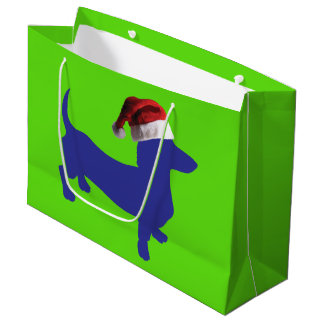 Purple Dachshund Wearing a Santa Claus Hat Large Gift Bag