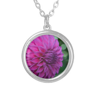 Purple dahlia flower silver plated necklace