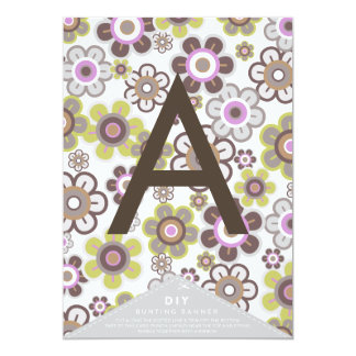 Purple Daisies Flowers Blooms DIY Bunting Banner 13 Cm X 18 Cm Invitation Card