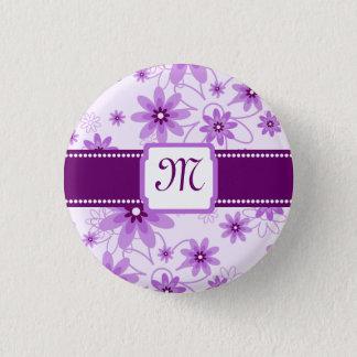 Purple Daisies Monogram 3 Cm Round Badge