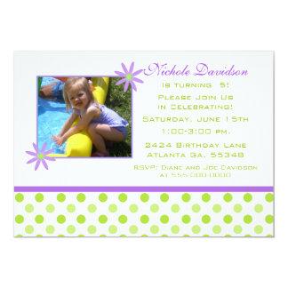"""Purple Daisy and Polka-dots: Party Invitations 5"""" X 7"""" Invitation Card"""