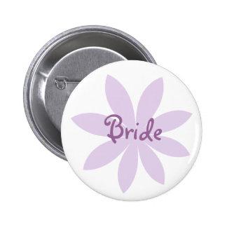 Purple Daisy Bride 6 Cm Round Badge