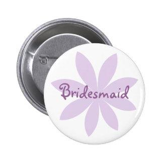 Purple Daisy Bridesmaid 6 Cm Round Badge
