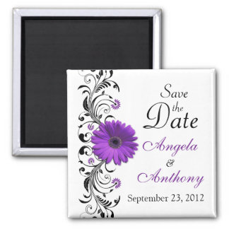 Purple Daisy Floral Wedding Save the Date Magnet