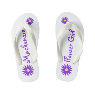 Purple Daisy Flower Girl Thongs