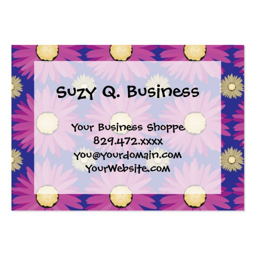 Purple Daisy Flower on Blue Floral Pattern Business Card