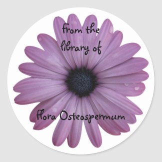 Purple Daisy Flower Osteospermum Custom Bookplate Round Sticker