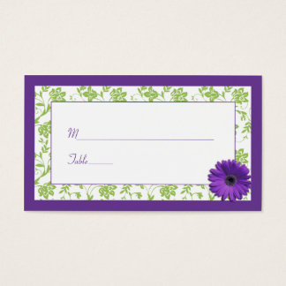 Purple Daisy Green Damask Wedding Place Cards