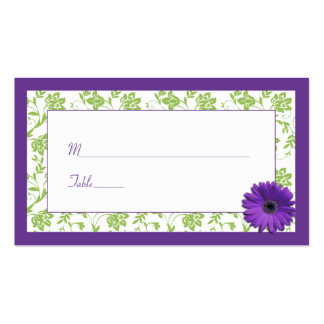 Purple Daisy Green Damask Wedding Place Cards Double-Sided Standard Business Cards (Pack Of 100)