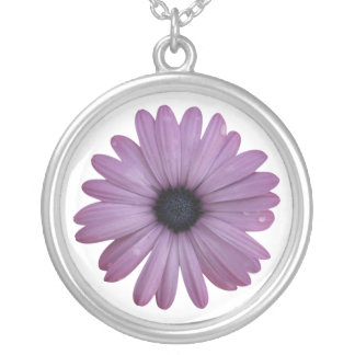 Purple Daisy Like Flower Osteospermum ecklonis Round Pendant Necklace