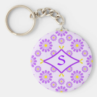 Purple Daisy Monogram Key Ring
