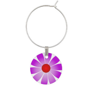 Purple Daisy Red Center Wine Charm