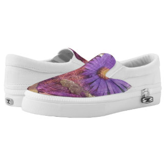 Purple Daisy Slip on Shoes Printed Shoes