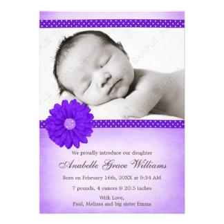 Purple Daisy Sparkle Girl Photo Birth Announcement