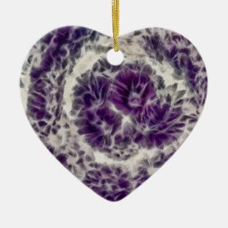 Purple Daisy Swirl Ceramic Heart Decoration