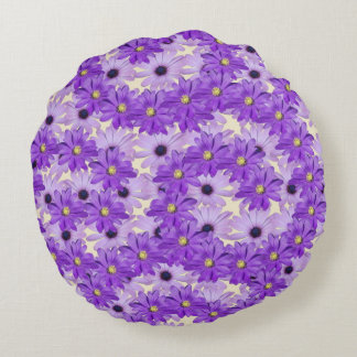Purple Daisy Swirls Round Cushion