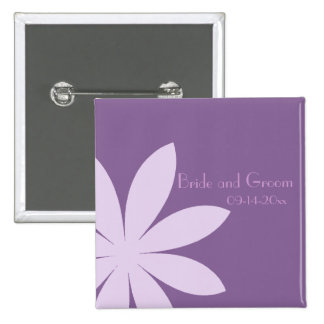 Purple Daisy Wedding 15 Cm Square Badge