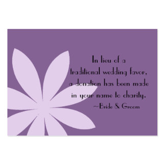Purple Daisy Wedding Charity Favor Card Pack Of Chubby Business Cards