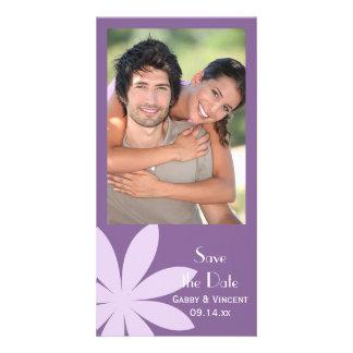 Purple Daisy Wedding Save the Date Photo Card Template