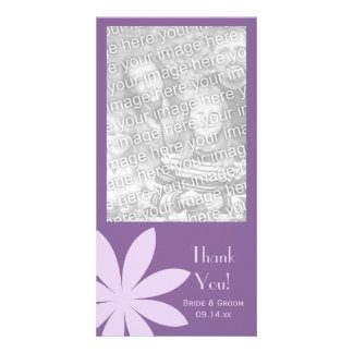 Purple Daisy Wedding Thank You Picture Card