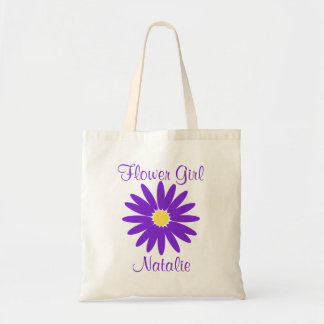 Purple Daisy with Customizable Text Budget Tote Bag