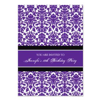Purple Damask 18th Birthday Party Invitations