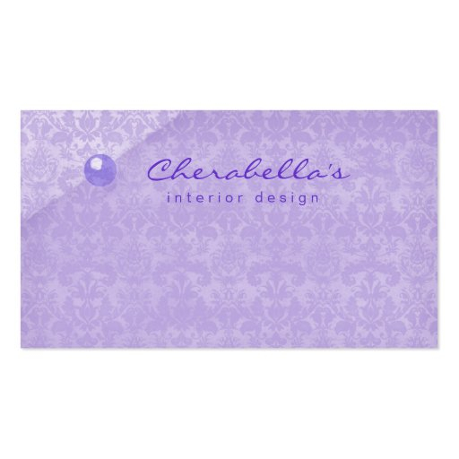 Purple Damask 1 Button Salon Spa business card