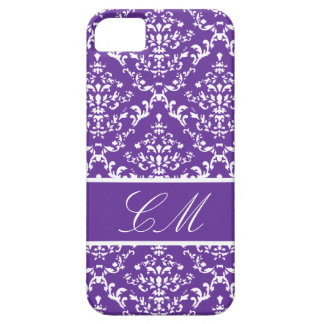 Purple Damask #1 @ Vintage Marie with Monogram iPhone 5 Cases