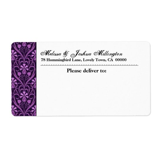Purple Damask Address Wedding Label