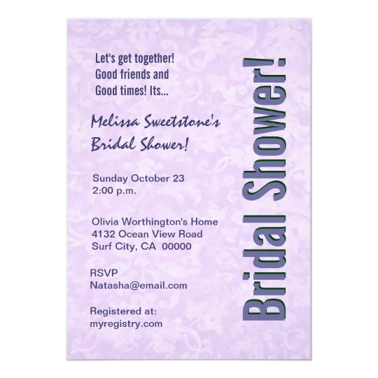 Purple Damask and Faux Bow Bridal Shower Card