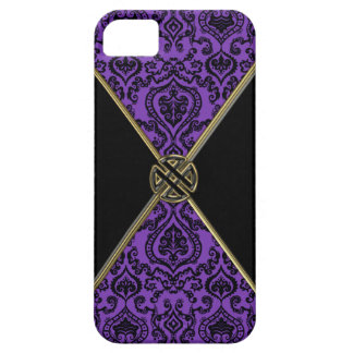 Purple Damask and Gold Celtic Knot iPhone 5 Case