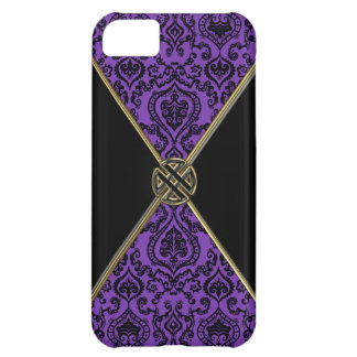 Purple Damask and Gold Celtic Knot iPhone 5C Case