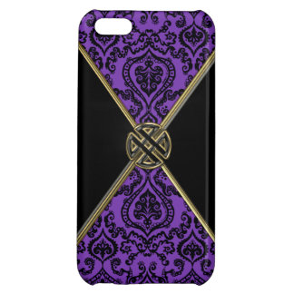 Purple Damask and Gold Celtic Knot iPhone 5C Cover