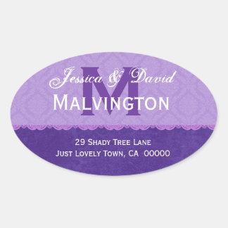 Purple Damask and Lace Wedding Monogram Address V2 Oval Sticker