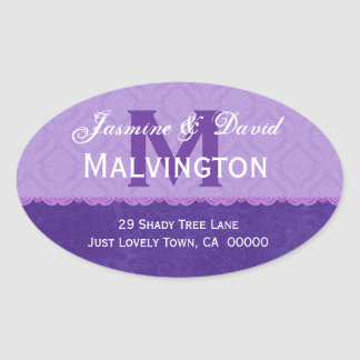 Purple Damask and Lace Wedding Monogram Address V3 Oval Sticker