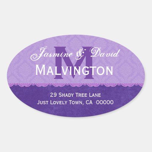 Purple Damask and Lace Wedding Monogram Address V3 Stickers