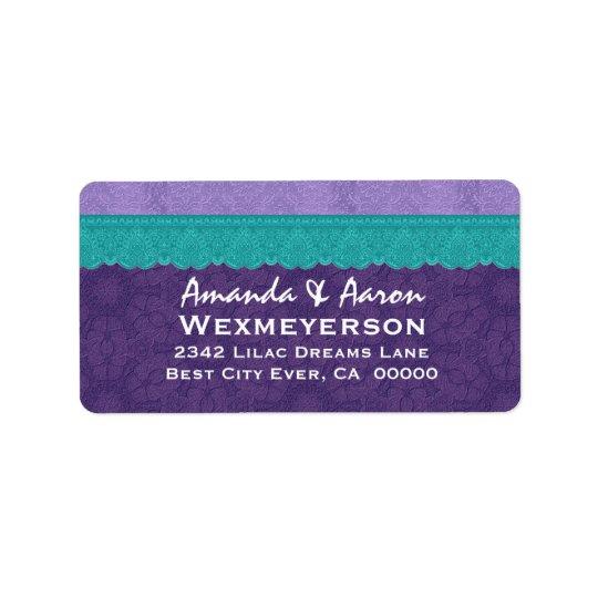 Purple Damask and Teal Lace Wedding Address Label