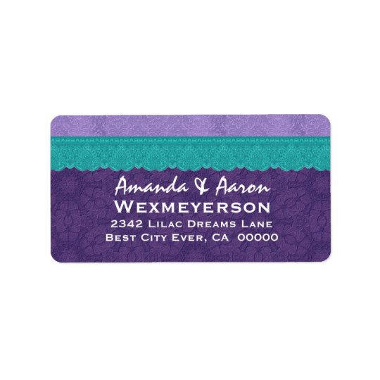 Purple Damask and Teal Lace Wedding Label
