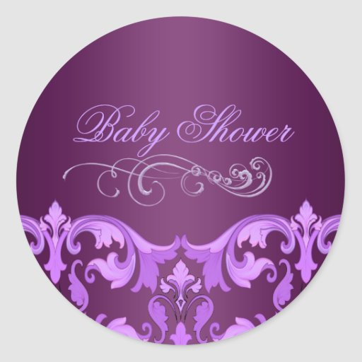 Purple Damask Baby Shower Envelope Sticker/seal
