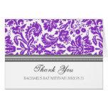 Purple Damask Bat Mitzvah Thank You Card