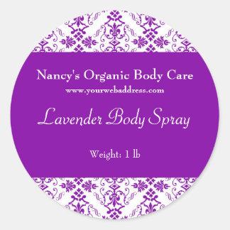 Purple Damask bath, soap, and cosmetics label