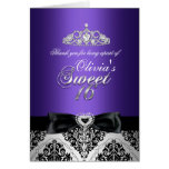 Purple Damask & Bow Sweet Sixteen Thank You Card