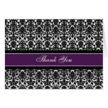Purple Damask Bridal Lucheon Thank You Card