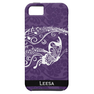 Purple Damask Butterfly Music Personalized Tough iPhone 5 Case