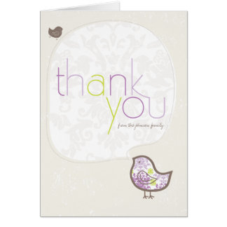 Purple Damask Chicks Baby Girl Thank You Note Card