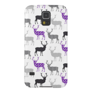 Purple Damask Christmas Deer Stag Pattern Galaxy S5 Covers