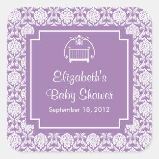 Purple Damask Crib Baby Shower Square Sticker