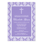 Purple Damask Cross Girl Baptism Christening Card