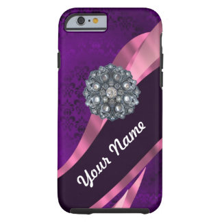 Purple damask & crystal tough iPhone 6 case